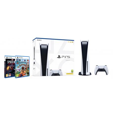Pack Consola Playstation 5 + Spider-Man Miles Morales + Sackboy Uma Grande Aventura  (Ver Notas no descritivo do produto)