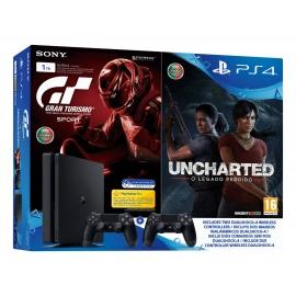Consola PS4 Slim 1TB + Gran Turismo Sport + Uncharted: O Legado Perdido + 2 Comandos Dualshock 4