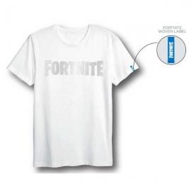 T-Shirt Fortnite Branca Com Logo - Tamanho L