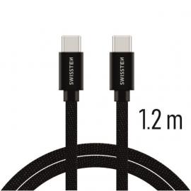Swissten - Textile Cable USB-C - USB-C (1.2m-black)