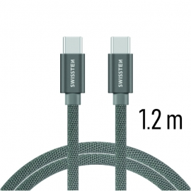 Swissten - Textile Cable USB-C - USB-C (1.2m-grey)
