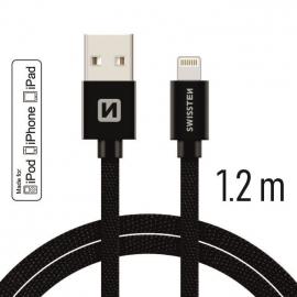 Swissten - Textile Cable USB-Lightning (1.2m-black)