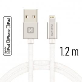 Swissten - Textile Cable USB-Lightning (1.2m-silver)
