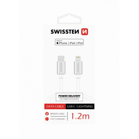 Swissten - Textile Cable USB-C - Lightning (1.2m-silver)